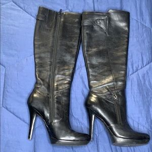 Nine West stiletto long black leather boots 6.5